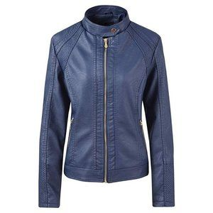 NWT! Navy Moto Jacket, Faux Leather, Retro-Style